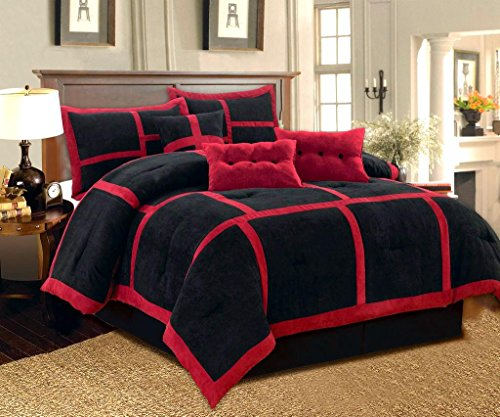 Dawn 7-Piece Micro Suede Comforter Bedding Set Soft Patchwork Oversized Bed in a Bag Black & Red (Queen)