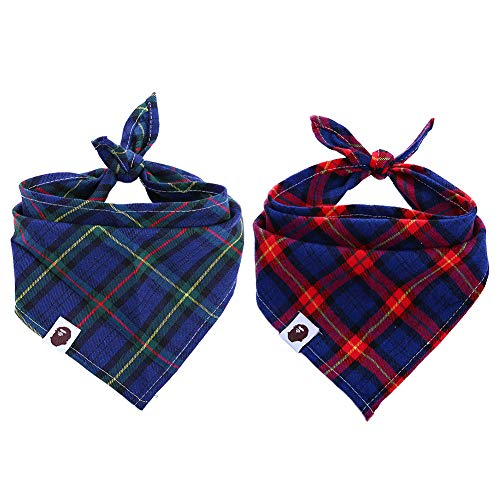 Kuoser Dog Bandana, Pet Dog Cat Adjustable Triangle Bibs Scarf Cute Plaid 100% Cotton Kerchief Set Accessaries Small Medium Large Dogs Cats Pets, Machine Washable by Kuoser