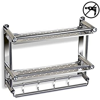 Crystallove Self Adhesive Chromed Metal Shower Caddy Storage Basket ...