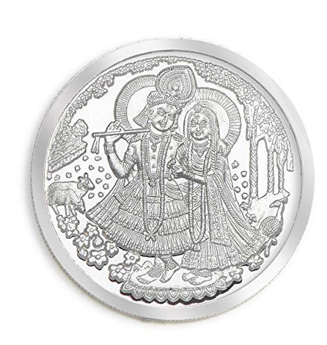 Rajasthan Silver Works™ BIS Hallmarked Radha Krishna 10 grams 999 Silver Coin.