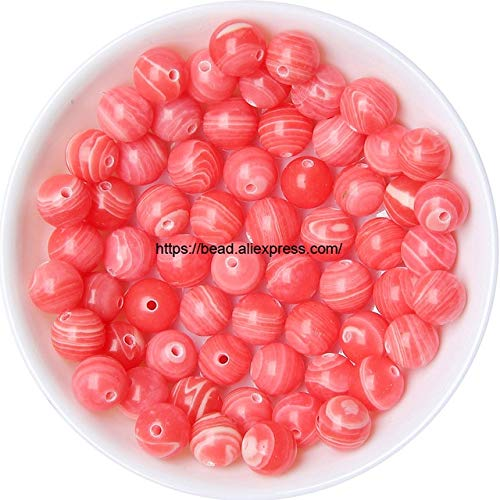 Calvas Synthetic Jaspers/Turquoises Stone Round Loose Beads Pick 16 Color and Size for Handmade Jewelry Making DIY - (Color: Red Lace, Item Diameter: 12mm 32pcs Beads)