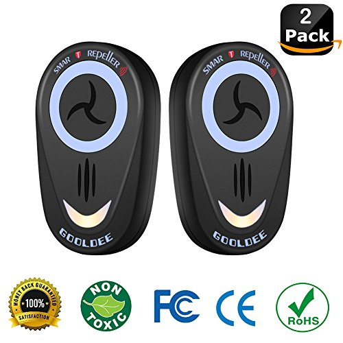 2018 New Upgraded Bug Repellent Electronic Ultrasonic Pest Repeller Plug In Home Pest Control (2-Pack), Indoor and Outdoor Pest Controller for Mosquito, Mice, Spider, Ant, Rodent,Bedbugs Roaches_Black
