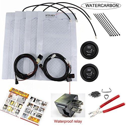 WATERCARBON car 3 Carbon Fiber Seat Heater Kit Hi/Lo Setting 3 Years USA Warranty 2 Seats And Hog Rings Pliers 100 Hog Rings...