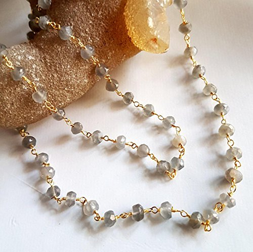 Gold Plated Chain Grey Moonstone faceted Rondelle beads Wire Warped Rosary Chain by Foot 4 mm - 4.5 mm Approx Rondelle M No- ()