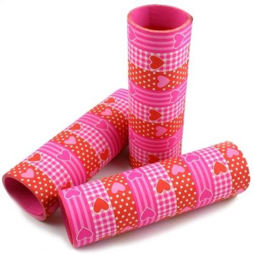 Luftschlange: Herz-Luftschlangen, rot, rosa und weiß, 9 Streifen, 4 m, 3er-Pack