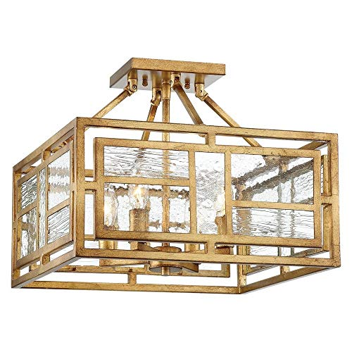 Metropolitan N6475-293 Edgemont Park Semi Flush Mount, 4-Light 240 Total Watts, Pandora Gold Leaf