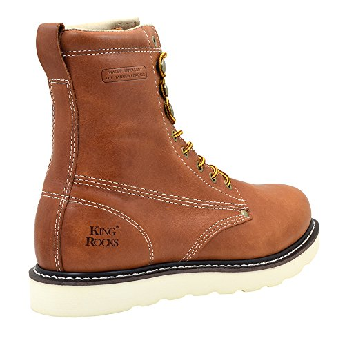 King Rocks Work Boots Mens 8 Plain Toe Wedge Comfortable Boots For Work and Construction Brun Wh2nC6GEKh