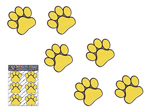 IMPRESIONES DE PATA Amarillo Animal pequeño gato mascota paquete de perro calcomanías de pegatinas de coches - ST00002YW_SML - JAS pegatinas
