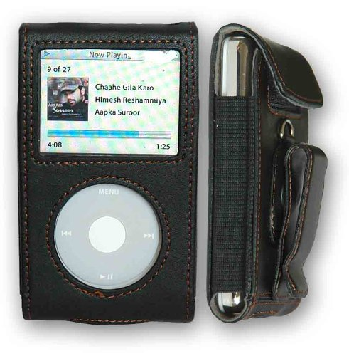 CrazyOnDigital Premium Black Leather Case Apple iPod Video/Classic. CrazyOnDigital Retail Package (Video Ipod)