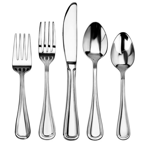 New Star Foodservice 58871 Slimline Pattern, Stainless Steel, 60-Piece Flatware Set (Steel Tableware Stainless Set)