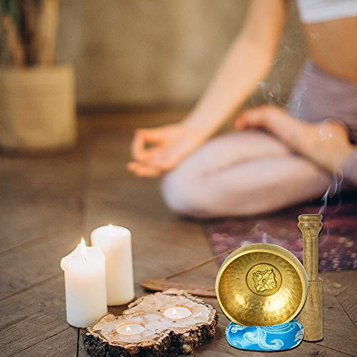 AITREASURE Tibetan Singing Bowls Set Tibetan Meditation Bowl for Yoga, Meditation Hand Percussion Instruments Singing Bell with Mallet & Cushion for Collection 3.15 Inch