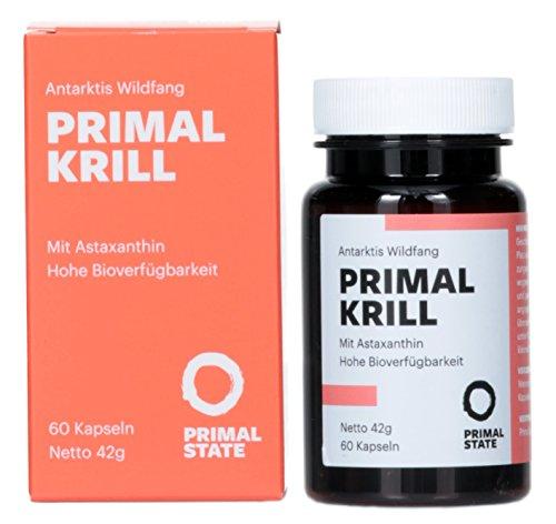 PRIMAL KRILL Öl (Omega-3-Öl, EPA, DHA und Astaxanthin) | Nachhaltiger Antarktis Wildfang | Unterstützt Gehirn, Herz und Augen | 60 Kapseln á 500mg