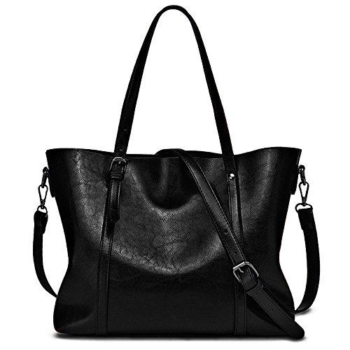 YALUXE Mujer Bolso de Mano Bolso del Hombro Cuero Genuino Vintage con Monedero Adicional Negro Negro