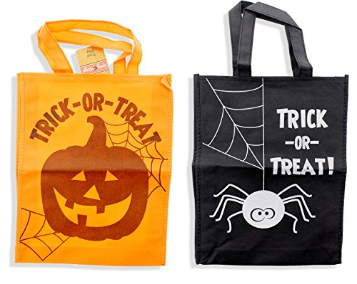 [Halloween Trick or Treat Tote Bags with Handles, Pumpkin & Spider Design - 2 Pack, 11