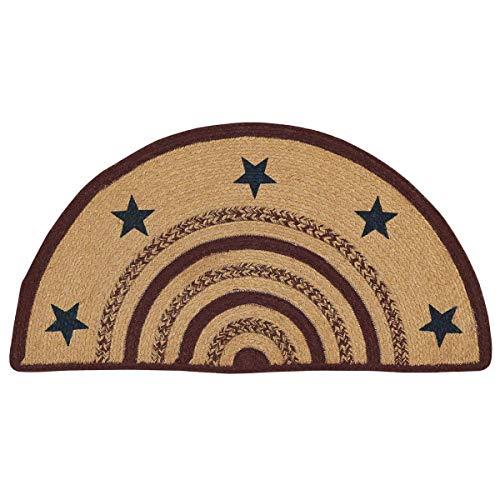 Americana Primitive Flooring - Potomac Tan Stenciled Stars Half Circle Jute Rug