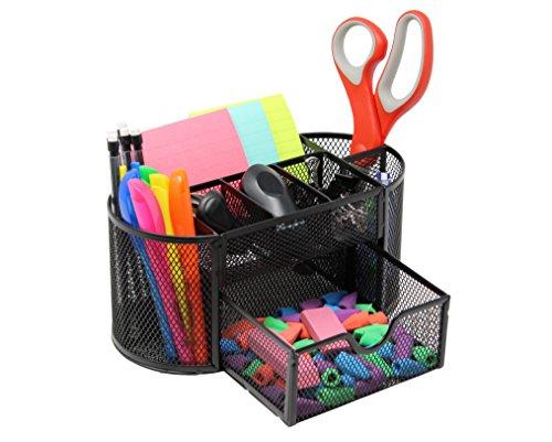 [Mesh Desk Organizer Caddy For Office Supplies & Desk Accessories - Black] (Office Depot Desk Accessories)