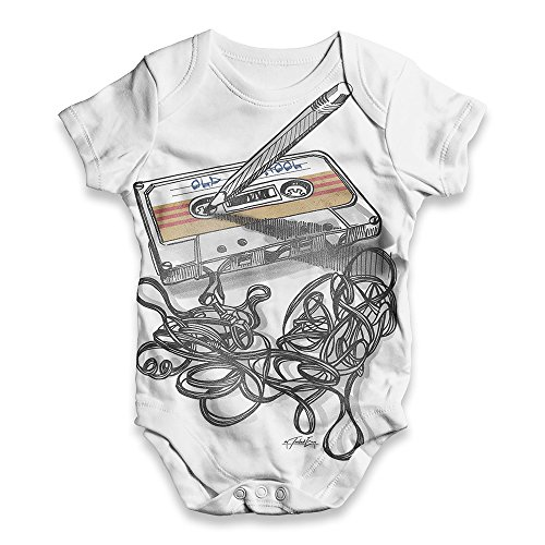 TWISTED ENVY Funny Bodysuits Baby Grow Onesie Old School Music White New Born