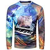 Hot Sale Fashion Sweatshirt for Men vermers 2018 New Long Sleeve O-Neck T Shirts 3D Printed Casual Tops Blouse(S, Blue)