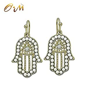 Onairmall Turquoise Women Delicate Jewelry Hamsa Earring Hand of Fatima Lucky/evil Eye Protection Amulet (White)