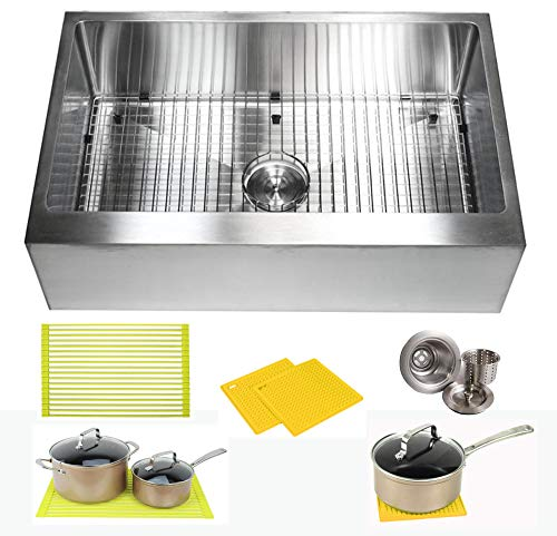 33 Inch Farmhouse Apron Front Stainless Steel Kitchen Sink Package 16 Gauge Flat Front Single Bowl Basin  Complete Sink Pack  Bonus Kitchen Accessories ()
