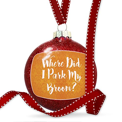 NEONBLOND Christmas Decoration Where Did I Park My Broom? Halloween Orange Wallpaper Ornament