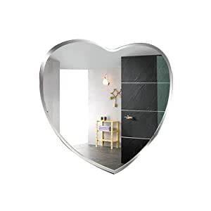 GRJ Household Items& Hanging Wall Mirror for Bedroom, Frameless Modern Wall Mounted Mirror with Hooks Heart Shaped Makeup Mirrors Bedroom Or Bathroom | Hanging