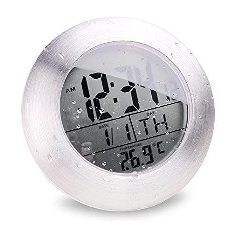 LOTOS - Reloj de pared electrónico digital para baño a prueba de agua: Amazon.es: Deportes y aire libre