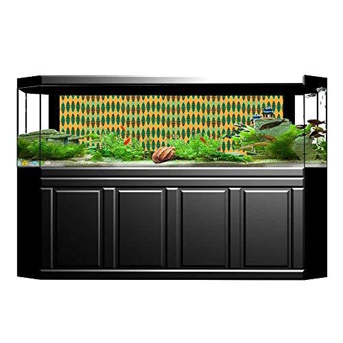 (UHOO2018 Fish Tank Poster Aquarium Background Backdrop PVC Adhesive Repeating Pattern Big Little Polka Dots Optical Design Print Marigold Green Brown Sticker Wallpaper Fish Tank 35.4