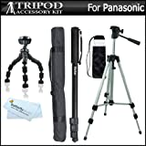 "Tripod accessory Bundle Kit For Panasonic Lumix DMC-ZS15, DMC-ZS20, DMC-FH8 DMC-FH6 DMC-FH4, DMC-TS20, DMC-S2, DMC-S5, DMC-SZ1, DMC-SZ7, DMC-TS4 Digital Camera Includes 50"" Tripod + 67"" Monopod + More"
