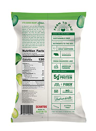 Beanitos Hint of Lime with Sea Salt, The Healthy, High Protein, Gluten free, and Low Carb Vegan Tortilla Chip Snack, 5 Ounce A Lean Bean Protein Machine for Superfood Snacking At Its Best