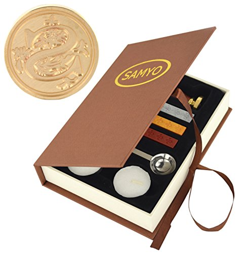 Price comparison product image SAMYO Stamp Seal Sealing Wax Vintage Classic Old-Fashioned Antique Alphabet Initial Letter Set Brass Color Creative Romantic Stamp Maker (S)