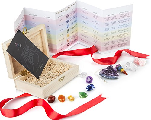 Premium Healing Crystals Gift Kit in Wooden Box - 7 Chakra Set Tumbled Stones, Rose Quartz, Amethyst Cluster, Crystal Points, Chakra Pendulum + 82 Page E-Book + 20x6 Reference Guide Poster, Gift Ready