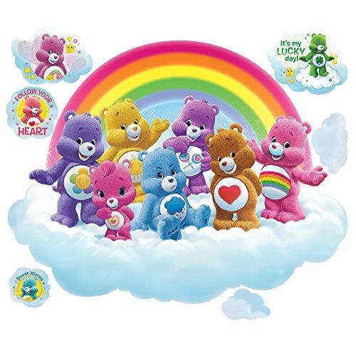Care Bears Large Rainbow Cloud Wall Decal Set (Care Bears Nursery Decor)