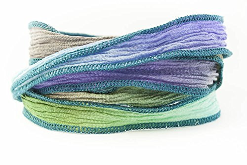 - Greek Goddess Handmade Silk Ribbon - Dove Gray, Periwinkle, Olive Green and Light Turquoise with Teal Edges