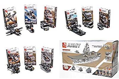 9-in-1 Army Navy Aircraft Carrier Set Multi-Military Vehicles Lego Compatible Bundle