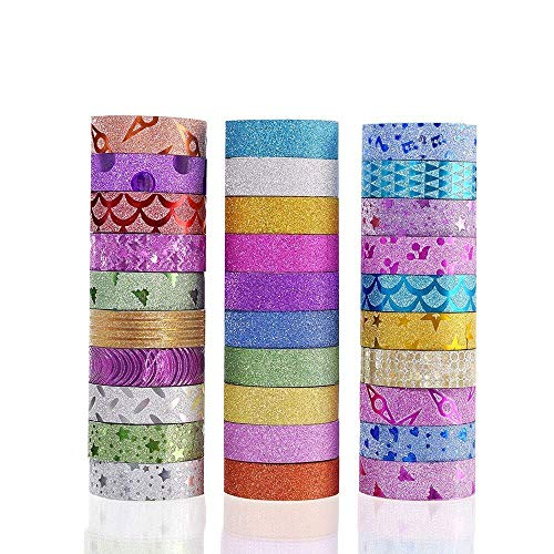 Success Stationery™ Colourful Decorative Adhesive Glitter Tape Rolls, Length 3m Each, Set of 30 (Colours and Designs May Vary)