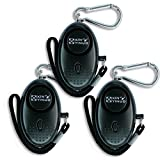 Xinyinuo 3 Pack Black Mini Loud Personal Staff Panic Rape Attack Safety Security keyring keychain Alarm with Torch 140DB