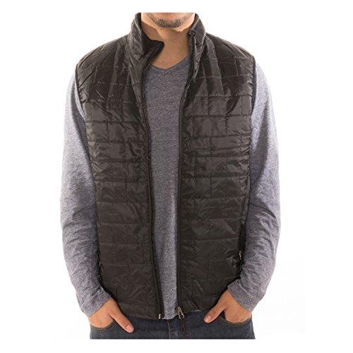 Men's Puffer Quilted Water Repellent Full Zipper Packable Vest Jacket Coat - Black - Large