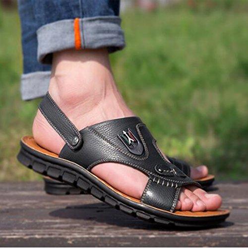 La De De Ocasionales Hombres Sandalias Cuero Zapatos Del Playa De Los Moda Black Respirables Sandalias Verano De ZHONGST 1ZwqPxgH5