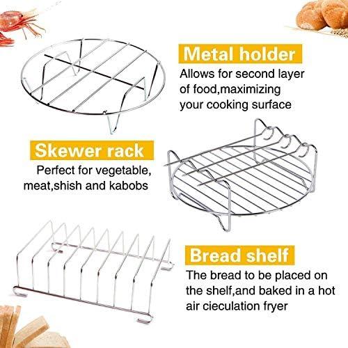 SADASD Accessori Air Fryer da 8 Pollici,Set di 10 per Airfryers E Forno,Deluxe Deep Fryer Accessori con Ricetta Cookbook Compatible Nero