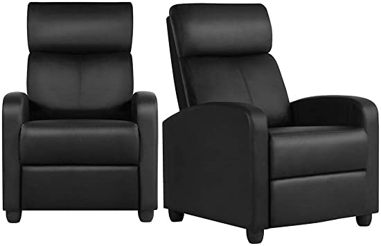 YAHEETECH 2-Seat Reclining Chair Leather - Sturdy Construction