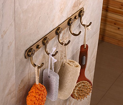 Rozin Wall Mounted Row 5 Towel Hooks Antique Brass Clothes Robe Hanger