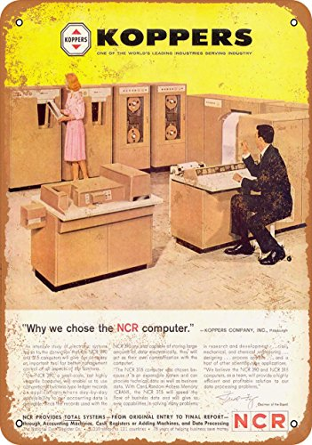 Wall-Color 9 x 12 METAL SIGN - 1962 NCR Mainframe Computers - Vintage Look Reproduction