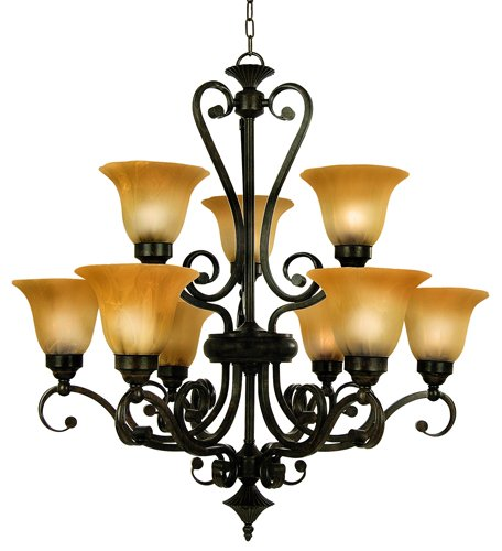 Yosemite Home Decor 94839-36VB Florence Chandelier with Marble Sunset Shades, 9-light, Venetian Bronze (Light Bronze Venetian Nine)