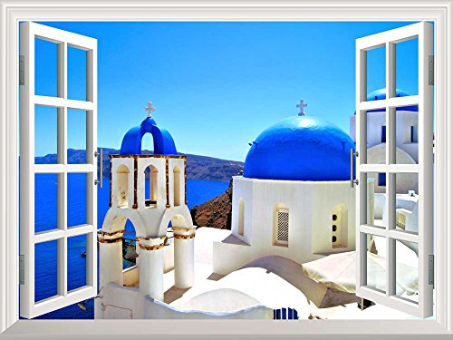 Removable Wall Sticker Wall Mural Beautiful Blue Dome Churches of Santorini Greece Creative Window View Wall Decor