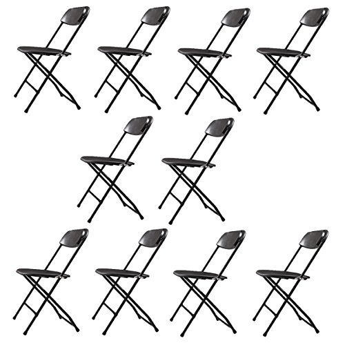 LAZYMOON 10 PCs Black Plastic Folding Chairs Commercial Quality Stackable Outdoor Event Chairs