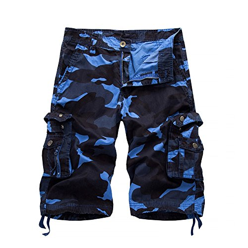 (iZHH Men's Pants Casual Camouflage Pocket Beach Work Short Trouser Cargo Shorts Pant)