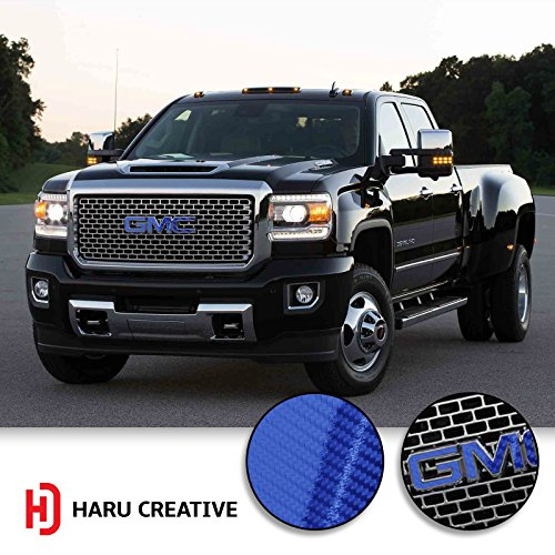 Haru Creative - Grille Hood Trunk Tailgate Emblem Letter Overlay Vinyl Decal Compatible Fits GMC - 5D Gloss Carbon Fiber Blue