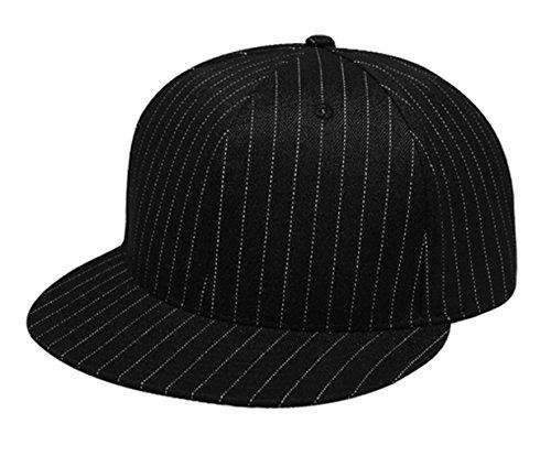 Black Pinstripe Hat (G Men's Flat Bill Solid Plain Fitted Cap Large (Black Pinstripe))