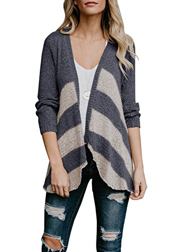 Lightweight Striped Sweater - SySea Womens Striped Open Front Cardigans Long Sleeve Draped Knit Lightweight Sweaters